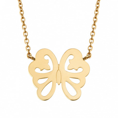 Collier Papillon Féerie de Legendes en or jaune, sur chaine