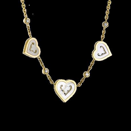 Collier 3 Coeurs Legendes en or jaune, nacre et 4 diamants