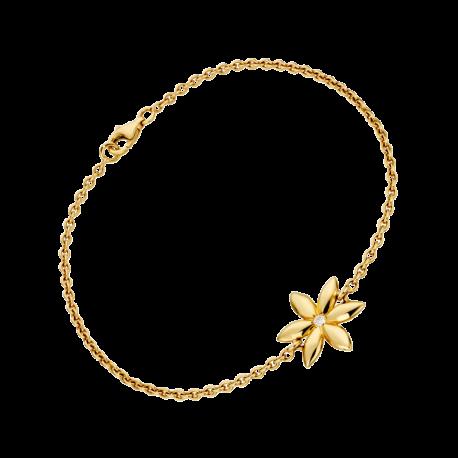 Bracelet Vivaldi en or jaune sur chaine avec 1 fleur et un diamant centrale
