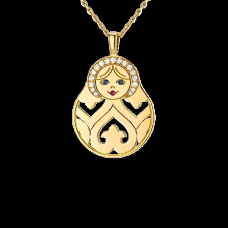 Pendentif Matriochka or jaune, couronne de diamant, yeux emeraude, bouche et noeud rubis,
