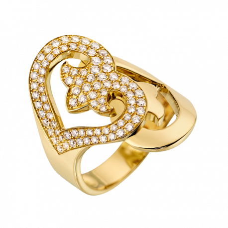 Ring Double Coeur yellow gold and diamonds