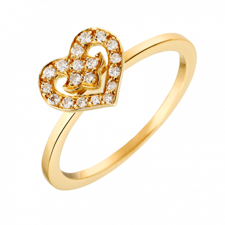 Ring Coeur Légendes yellow gold and diamonds