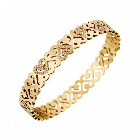 Bracelet Passionata yellow gold double row of heart, with 5 diamonds heart