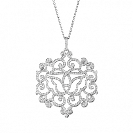 Pendant Double Cygne white gold and diamonds