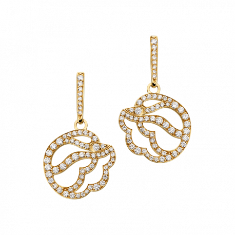 Earrings Cygne yellow gold and diamonds