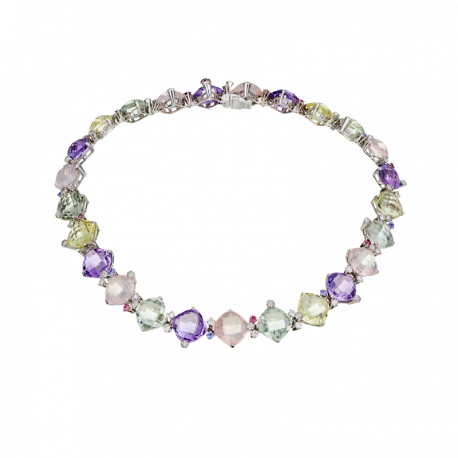 Necklace Sweety white gold quartz, amethyst and diamonds