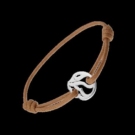 Bracelet Cygne sur cordon cuir